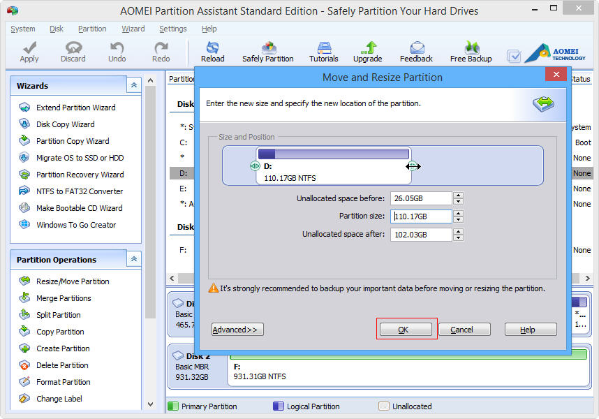 Resize Partition In Windows 10 With AOMEI Partition Assistant Standard